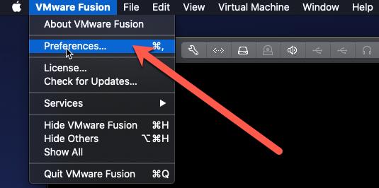 VMware Fusion / Preferences